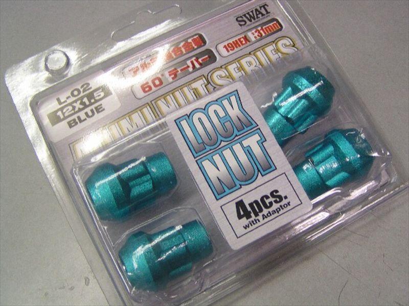 アルミ軽合金製 レーシングロックナット 12X1.5 ブルー 4個 1台分
